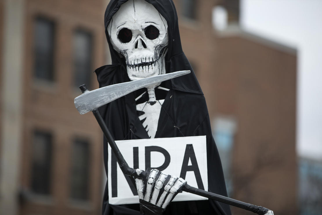 A grim reaper effigy is carried as thousands of people gather in Union Park for the March for Our Lives rally in Chicago on March 24, 2018. — Photograph: Abel Uribe/Chicago Tribune.
