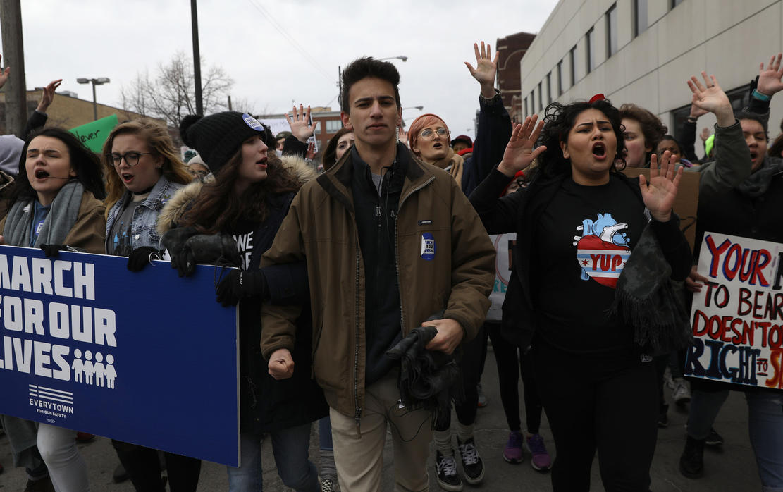 Chicago-area high school students lead people during the March for Our Lives protest on March 24, 2018, in Chicago. — Photograph: Abel Uribe/Chicago Tribune.