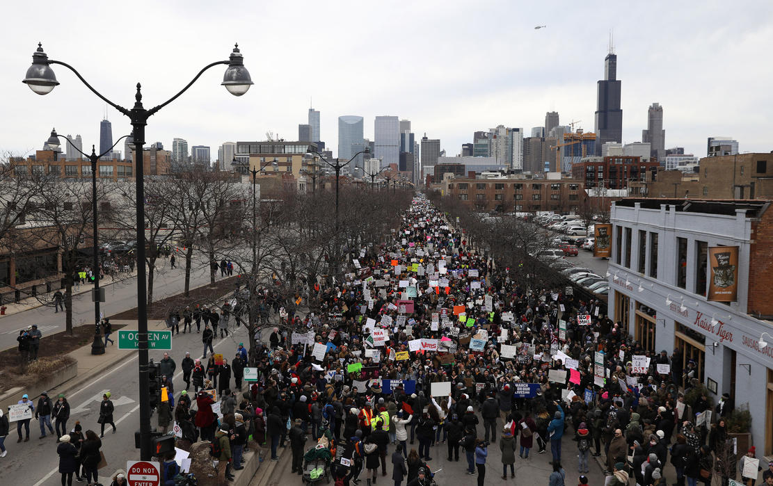 People march in the March for Our Lives protest on March 24, 2018, in Chicago. — Photograph: Abel Uribe/Chicago Tribune.