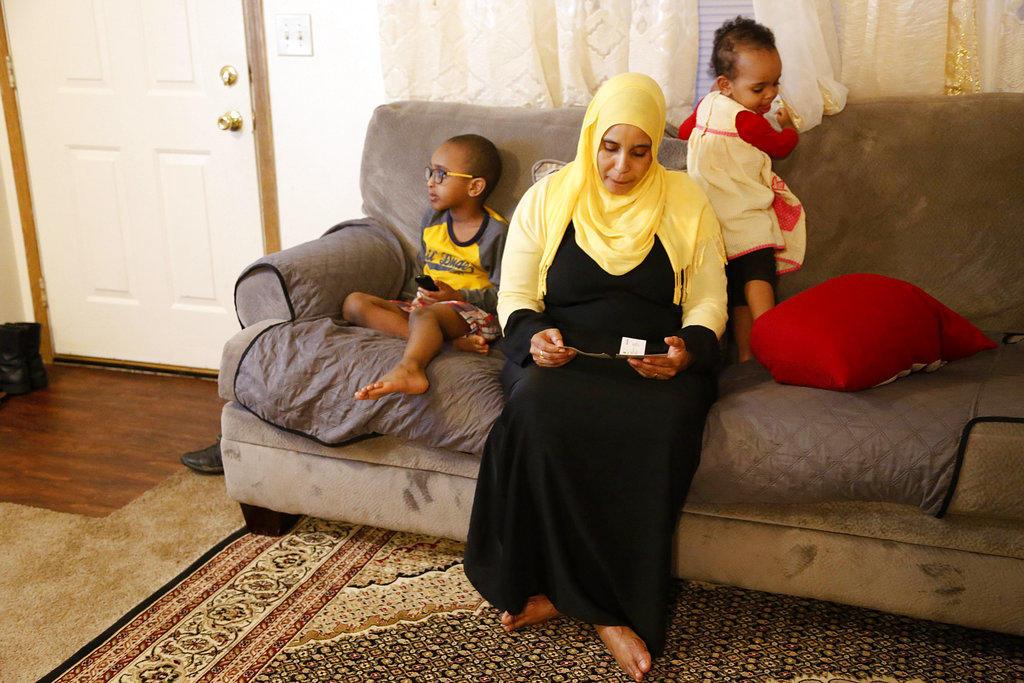 Amina Olow, a refugee from Somalia now residing in Columbus, Ohio