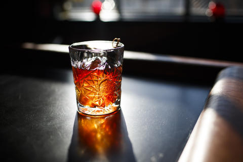 The Manhattan is made of Old Overholt bottled-in-bond bourbon, a house vermouth blend and angostura bitters.