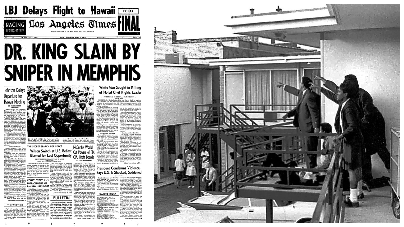"""The L.A. Times headline read: """"Dr. King Slain By Sniper in Memphis"""""""