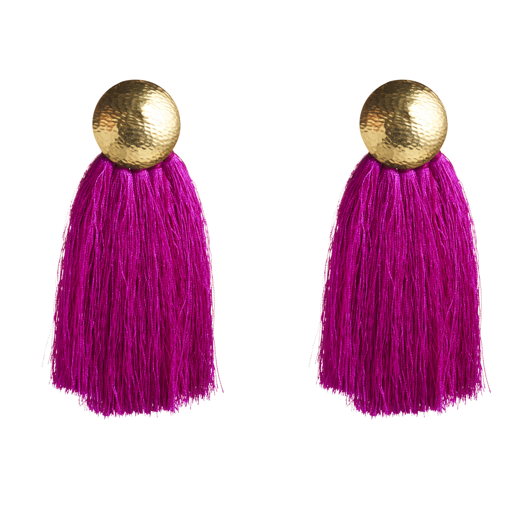 Flaca's tasseled earrings in silk and sterling silver.