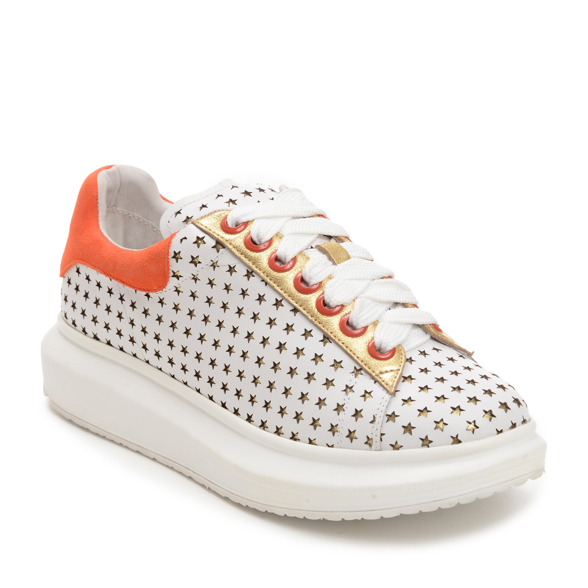 Hollie Watman's perforated white and orange leather sneakers.
