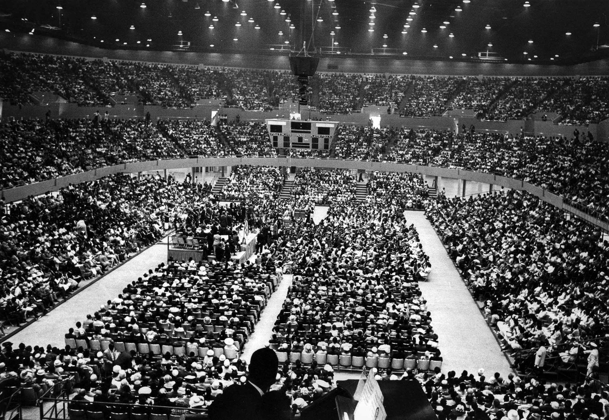 June 18, 1961: Interior of Sports Arena with crowd gathered to hear Rev. Martin Luther King, Jr. spe