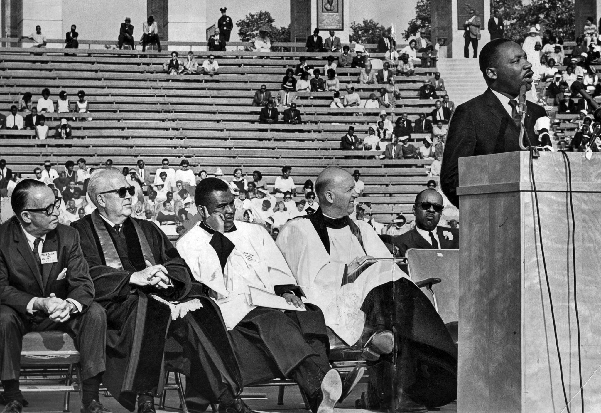 May 31, 1964: Dr. Martin Luther King, Jr. speaks at a civil rights rally at the Memorial Coliseum.
