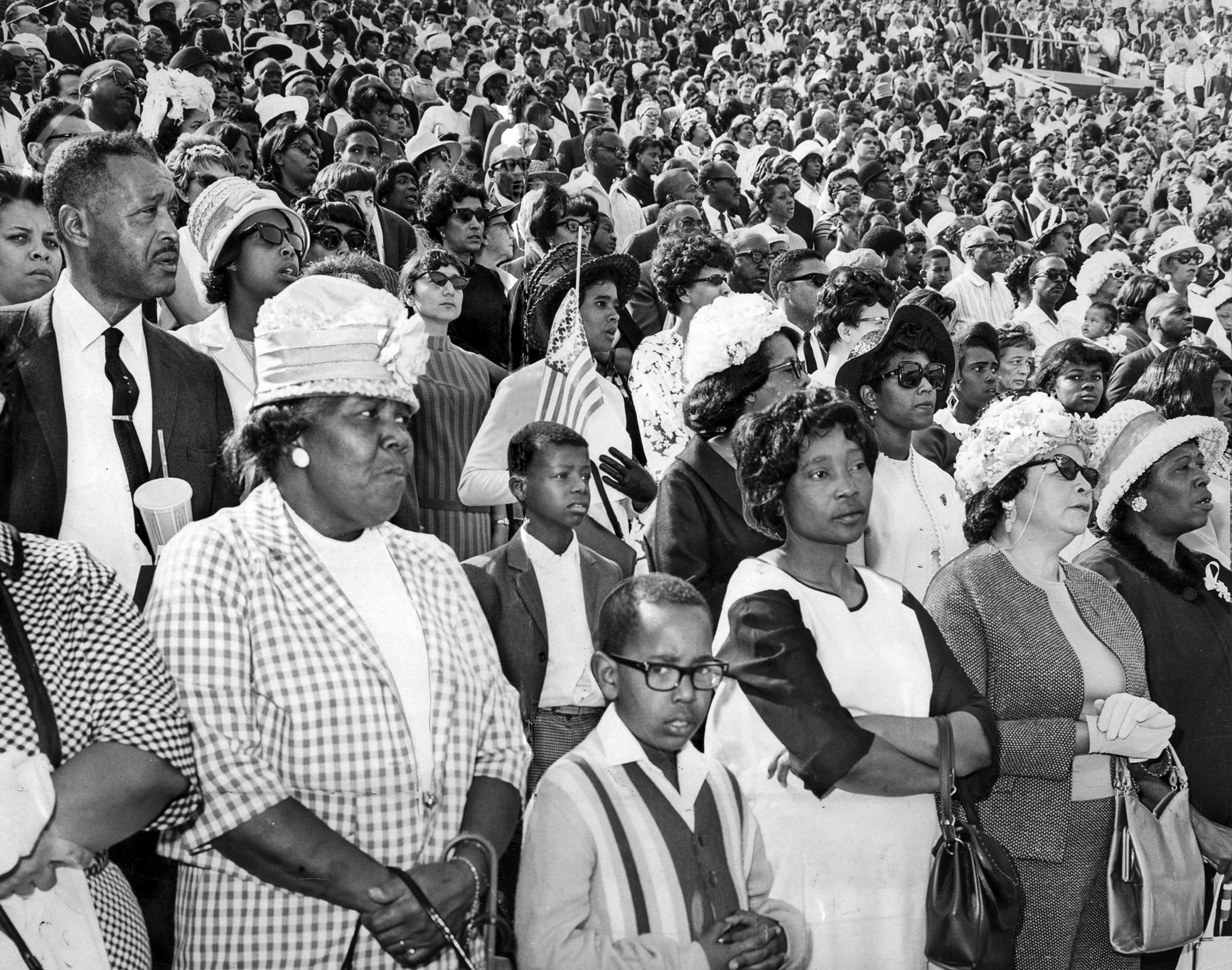 Apr. 7, 1968: A crowd of over 20,000 attends memorial at the Coliseum for Dr. Martin Luther King fol