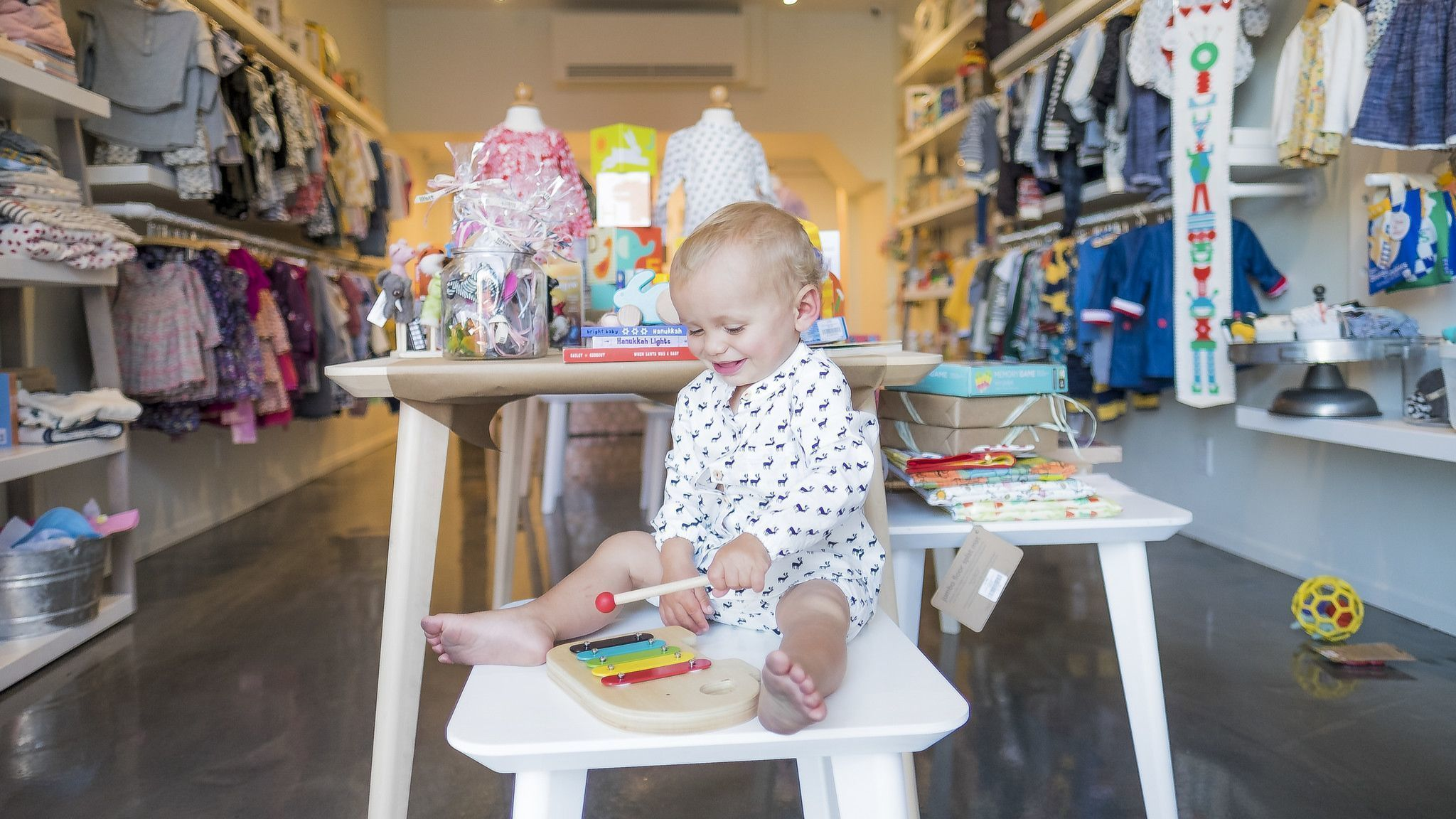 Co-owner Jill Lincoln's son, Charlie, at the Lil Bit children's store in Los Angeles.