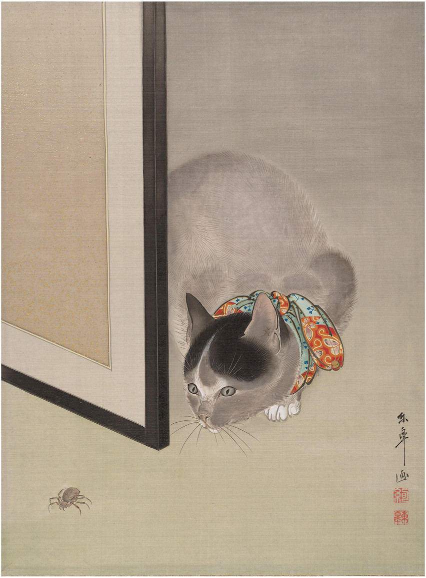 """Oide Toko's """"Cat Watching a Spider,"""" circa 1888-92"""