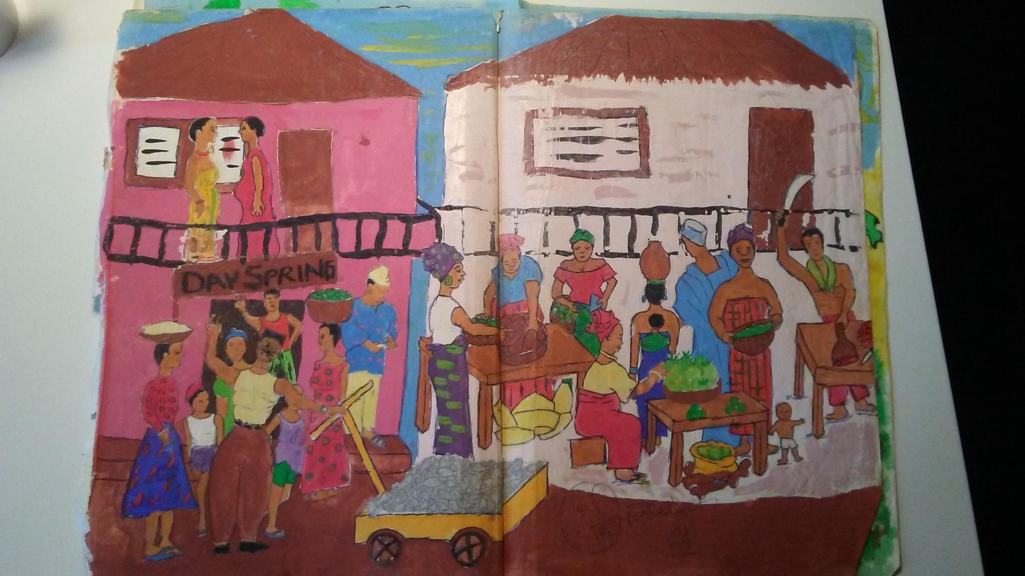 Njideka Akunyili Crosby's work from when she was 14.