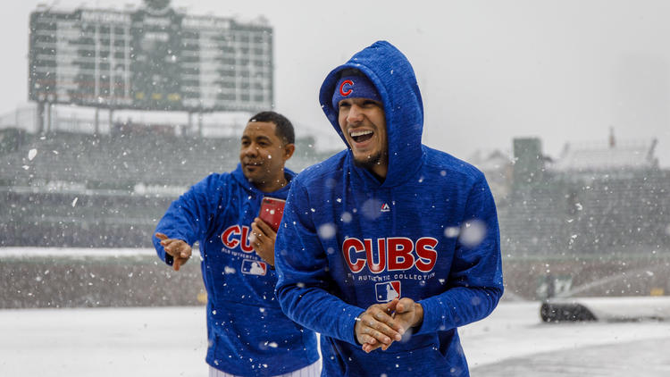 Snowy home opening day at Wrigley