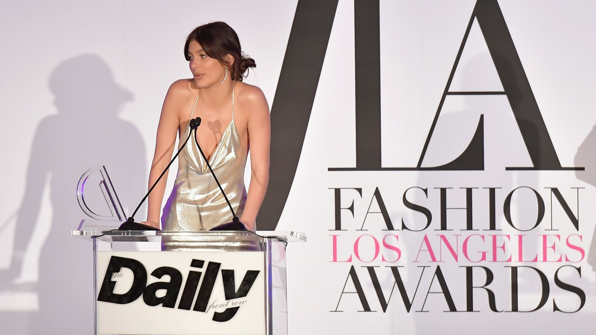 Honoree Cami Morrone accepts the Emerging Talent award during the Daily Front Row's Fashion Los Angeles Awards.