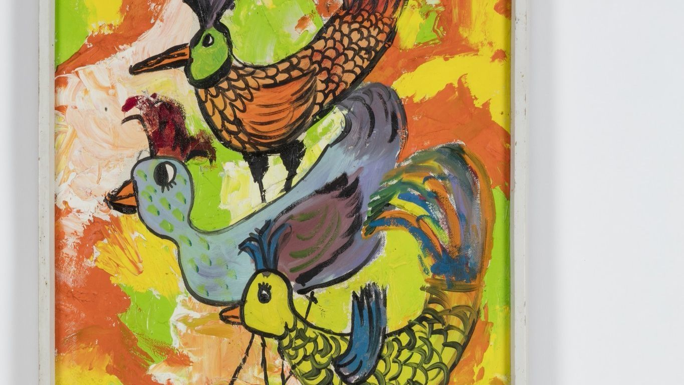 A detail from Kenny Scharf's art from when he was 13.