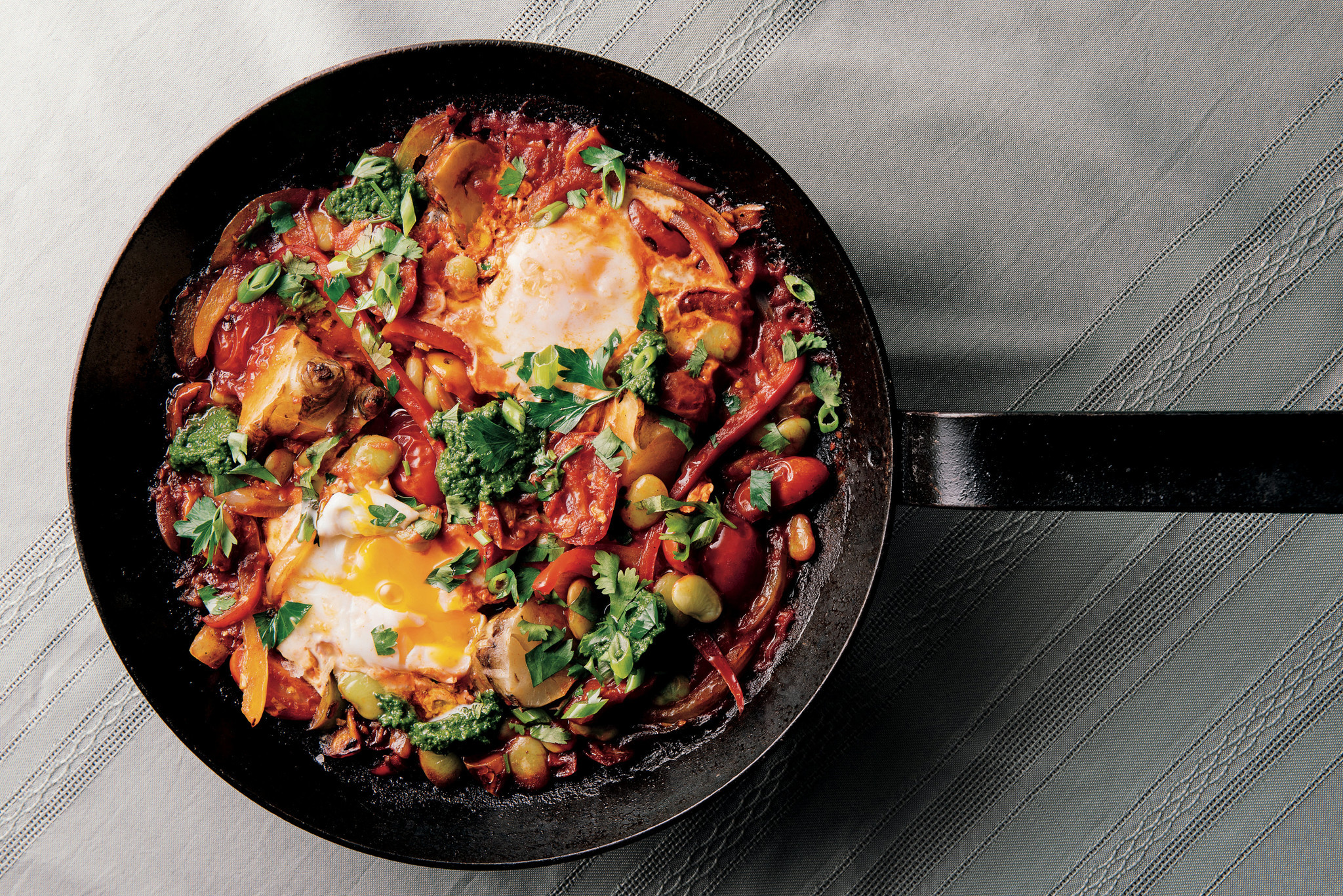 Shakshouka with zhough; credit: Rush Jagoe