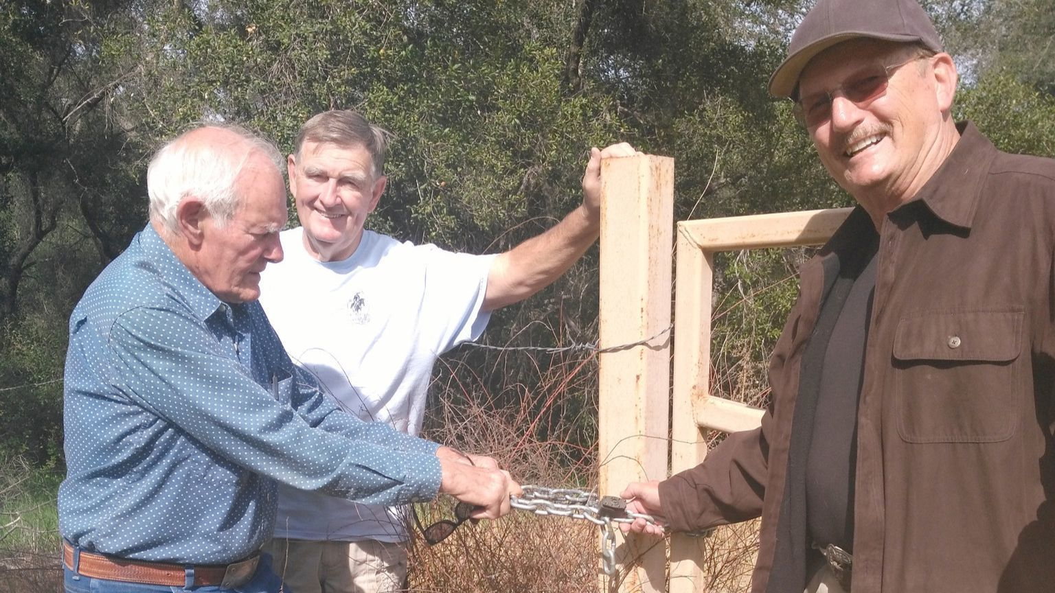 Ramona Trails Association members John Degenfelder, Don Wendt and Ed Spaeth seek access to part of a 4,000-acre property purchased by the state Department of Fish and Wildlife.