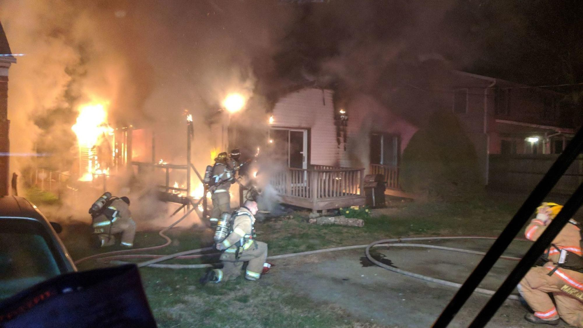Woman injured in glen burnie fire two houses damaged for Department of motor vehicles glen burnie