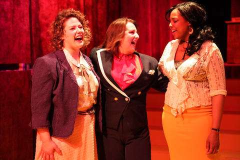 "Sara Reinecke, Anne Sheridan Smith and Sharriese Hamilton in Firebrand Theatre's production of ""9 to 5 The Musical"" at the Den Theatre."