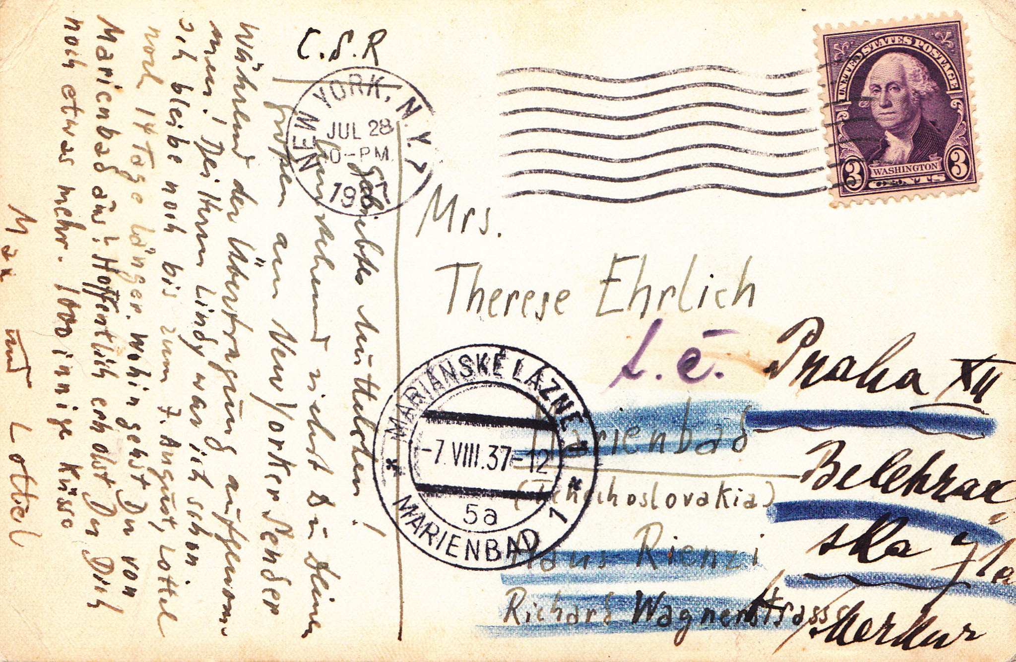 A postcard from Max Ehrlich, postmarked July 28, 1937 in New York, sent to his mother Therese about
