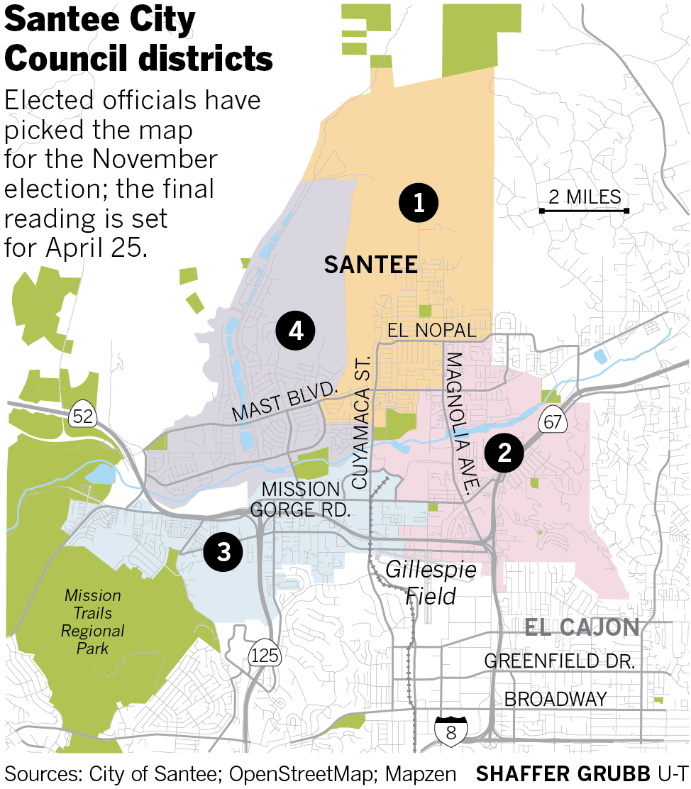 Santee City Council finalizes district map for coming ...