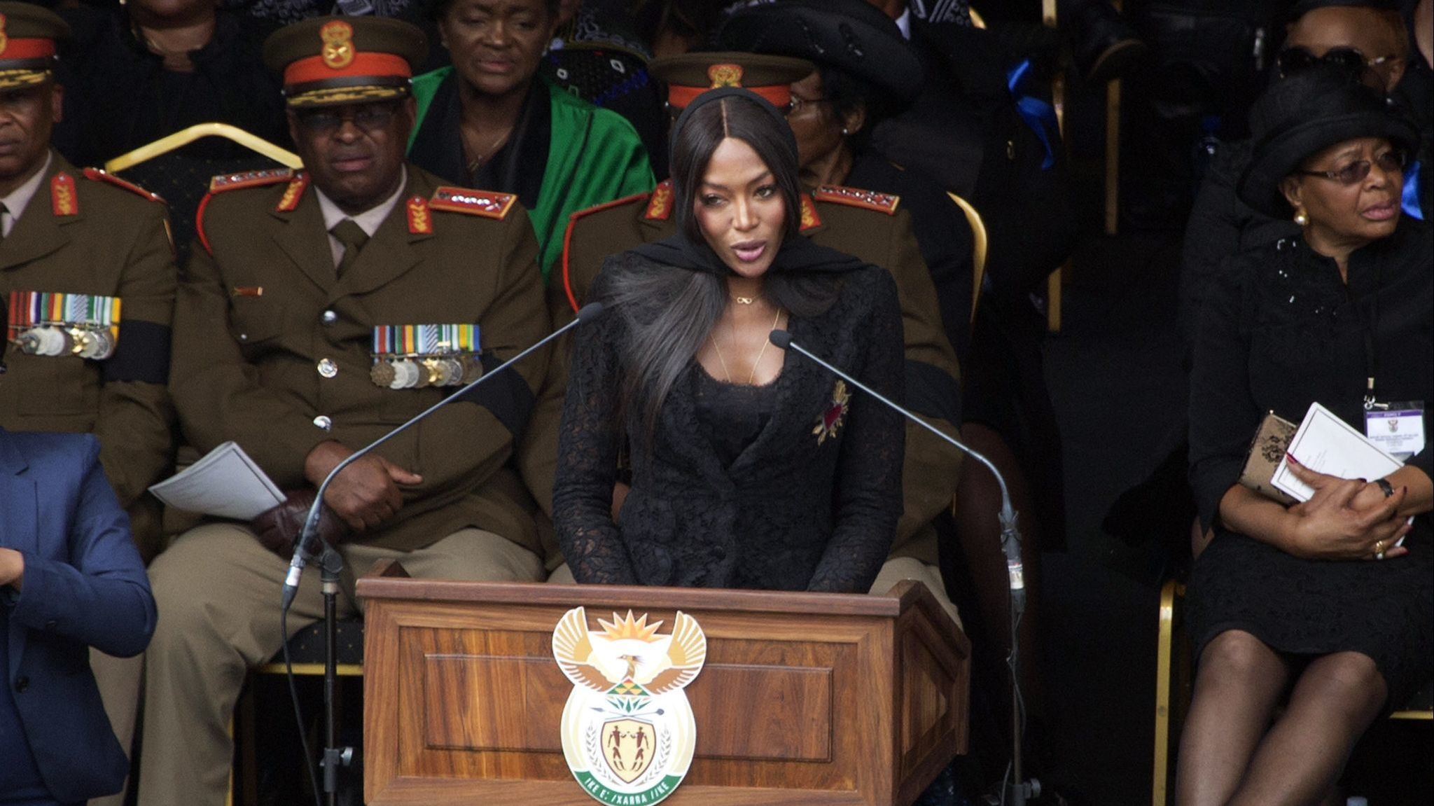British model Naomi Campbell pays tribute to anti-apartheid icon Winnie Madikizela-Mandela during he