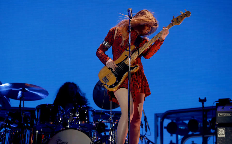 Bassist Este Haim performs with her sisters in the band called Haim. (Luis Sinco / Los Angeles Times)