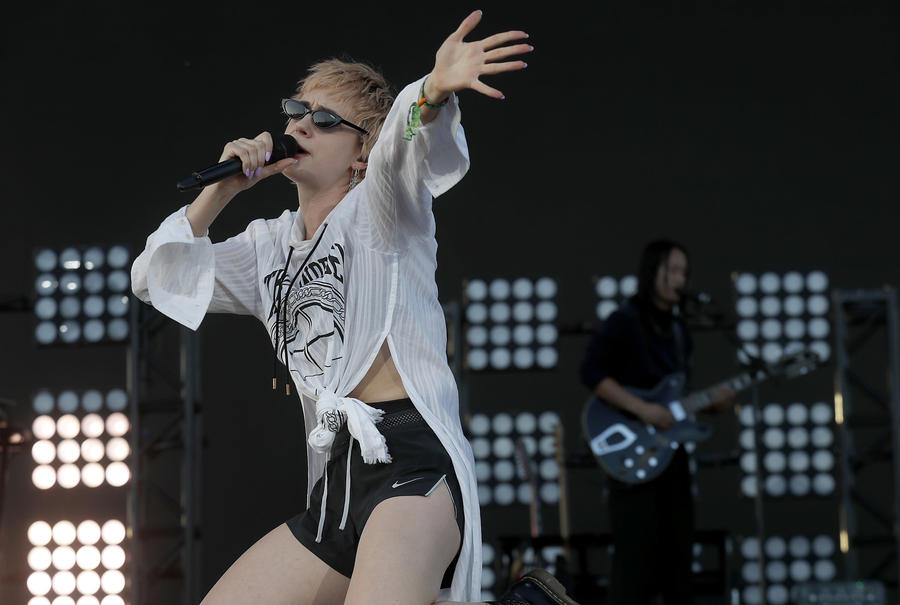 Danish singer, songwriter and electropop producer Mo performs. (Luis Sinco / Los Angeles Times)