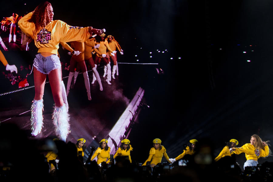 Beyoncé lights up the screen during her Coachella set. (Kent Nishimura / Los Angeles)