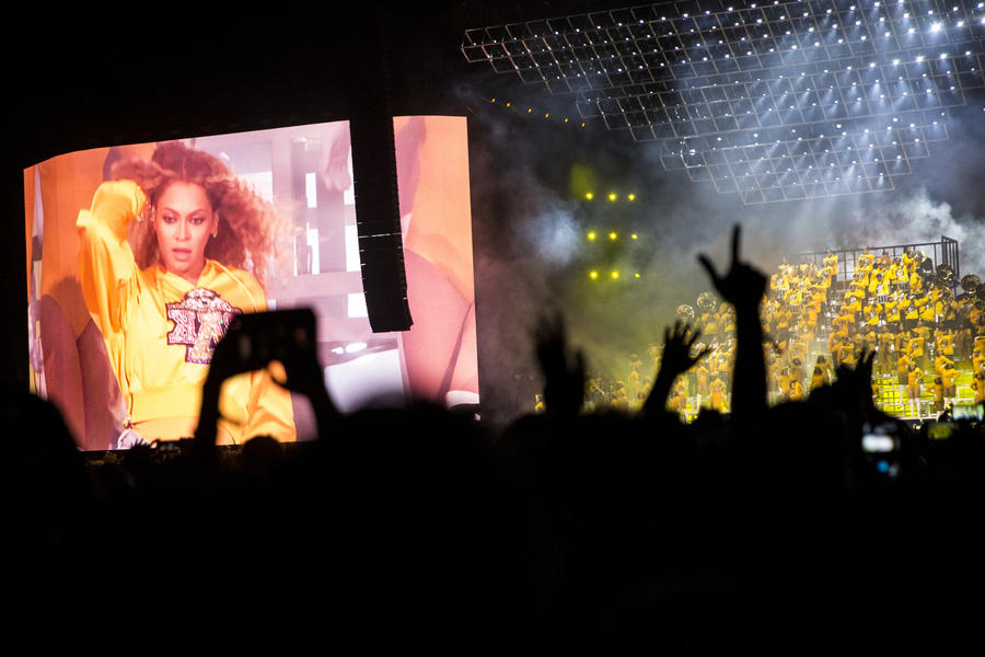 The view of Beychella from the crowd: Fans capture Beyonce Knowles' performance Saturday at the Coachella Valley Music and Arts Festival. (Kent Nishimura / Los Angeles Times)