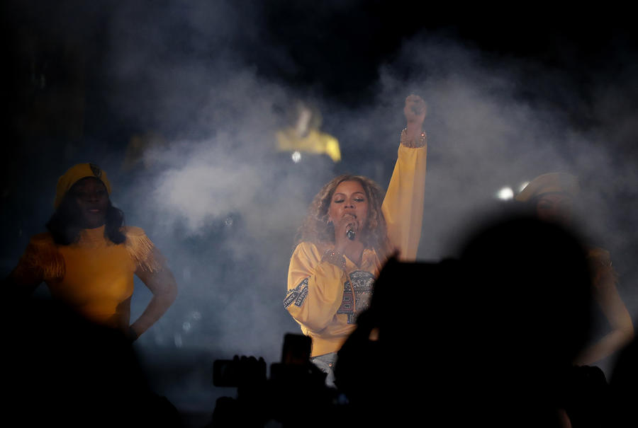 Beyonce makes a strong stand during her Coachella performance. (Luis Sinco / Los Angeles Times)