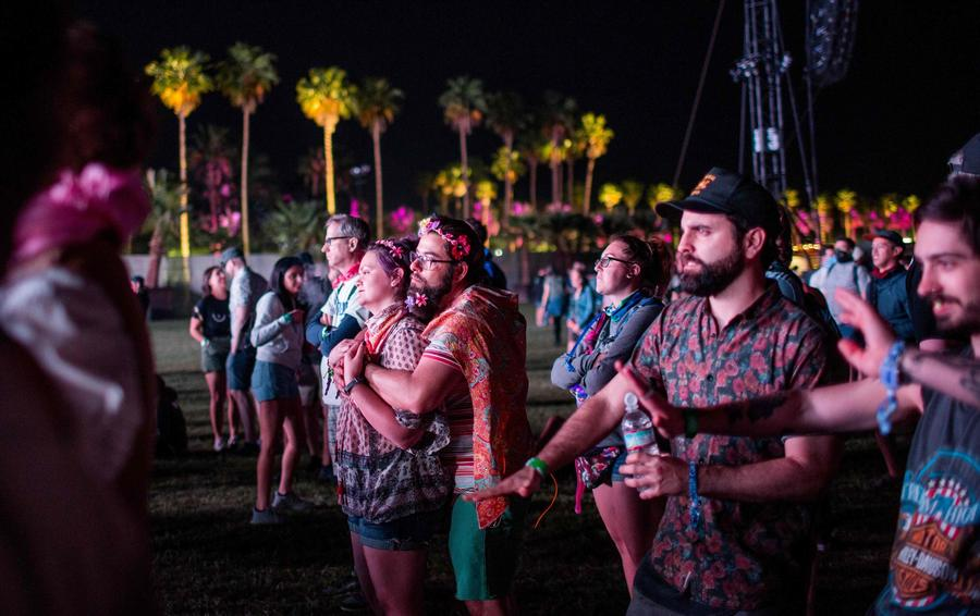 Fans watch blandly as Jean-Michel Jarre performs at the Coachella Music and Arts Festival on Friday. (Kyle Grillot/Getty Images)