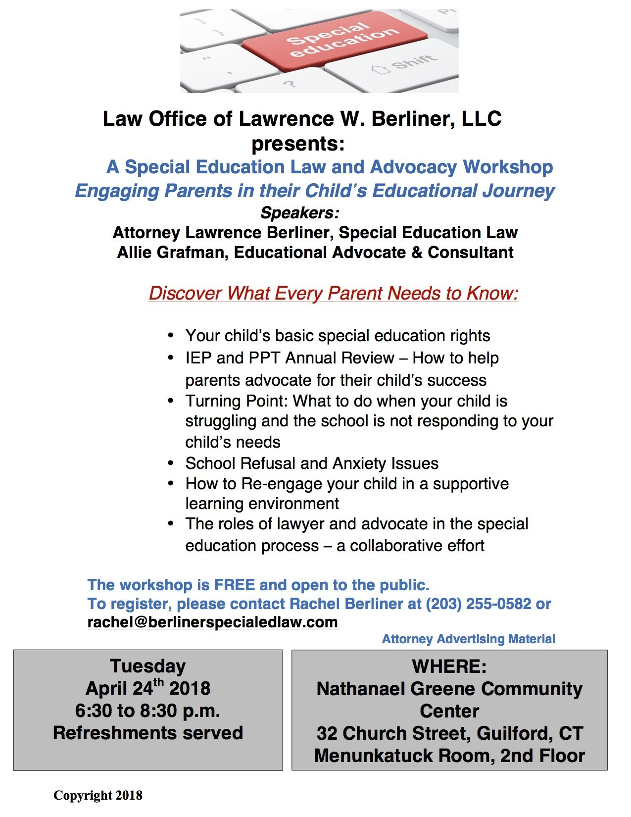 The Role Of Special Education Advocate >> Special Education Law And Advocacy Parent Workshop In Guilford On