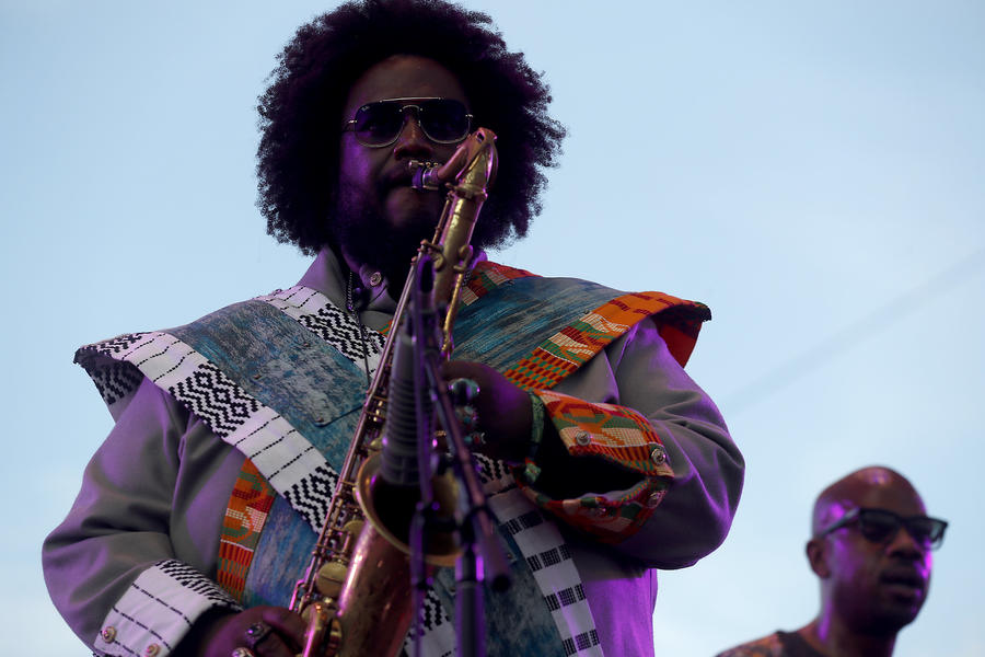 Jazz saxophonist Kamasi Washington performs at the festival. (Luis Sinco / Los Angeles Times)