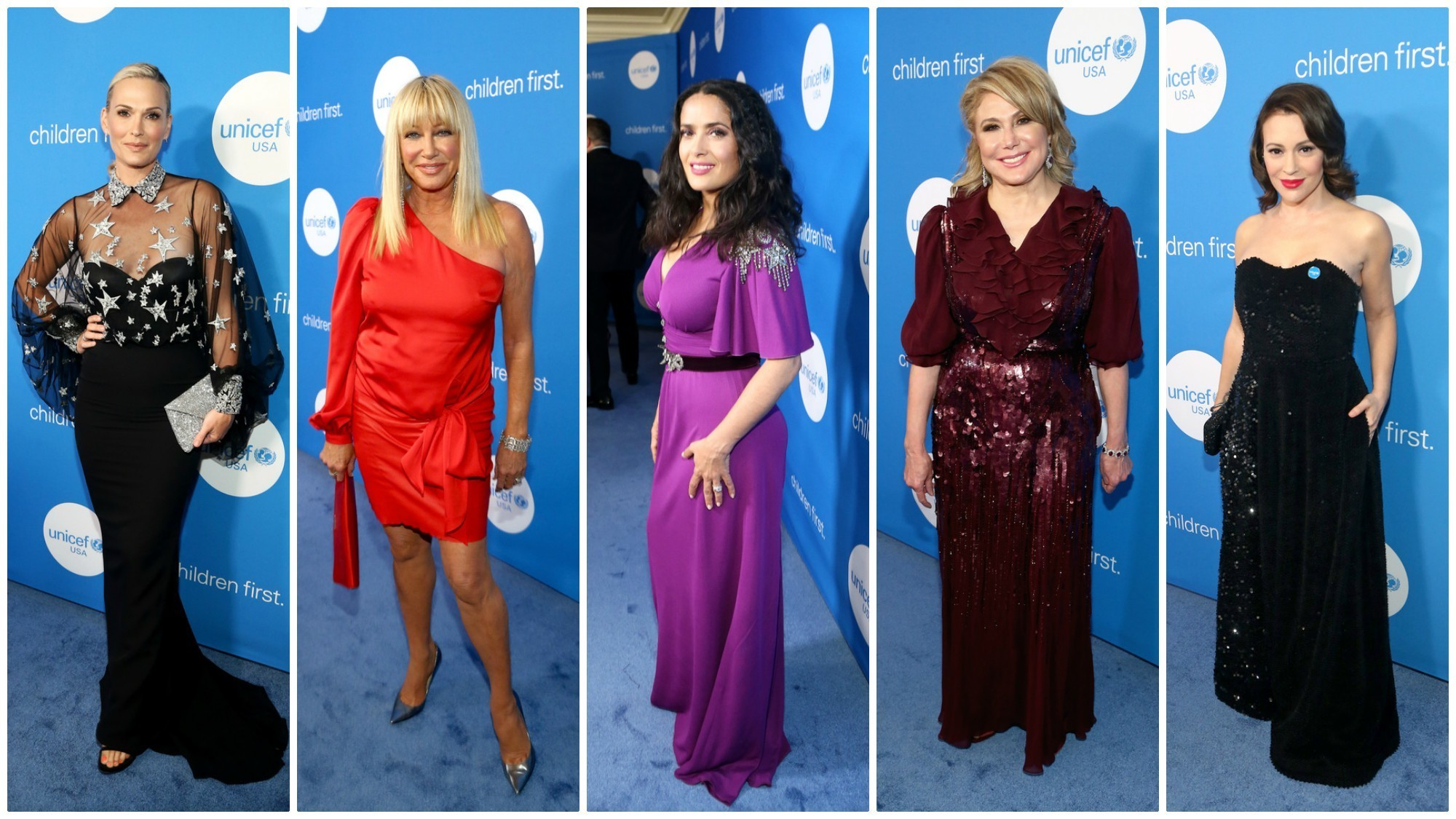 Molly Sims, from left, Suzanne Somers, Salma Hayek Pinault, Ghada Irani and Alyssa Milano at the seventh biennial UNICEF Ball in Beverly Hills.