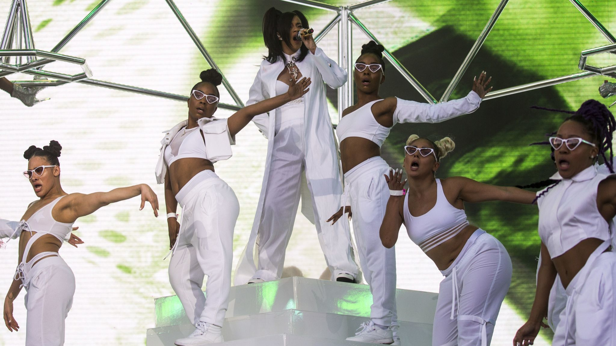 Cardi B and her dancers onstage during the first weekend of the Coachella Arts and Music Festival in Indio, Calif.