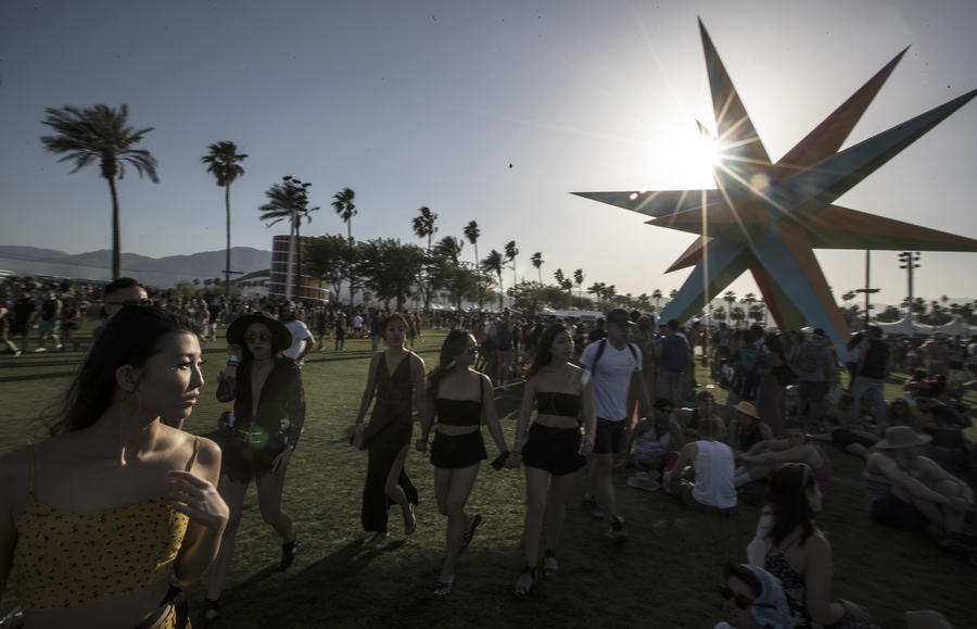The scene at Coachella Valley Music and Arts Festival, which Eminem performed at Sunday night. (Brian van der Brug / Los Angeles Times)