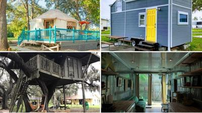 Unique vacation rentals in Florida include tree houses, hangars, huts and yurts