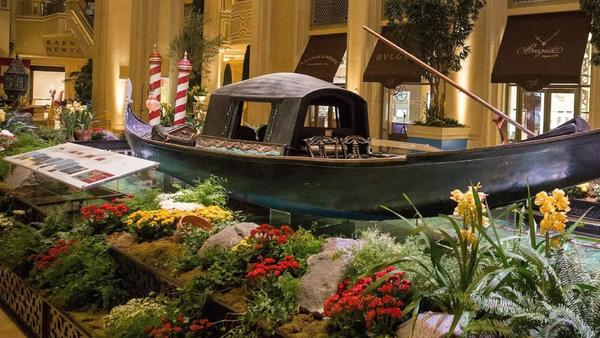 Check out this antique Italian gondola near Las Vegas' faux canals