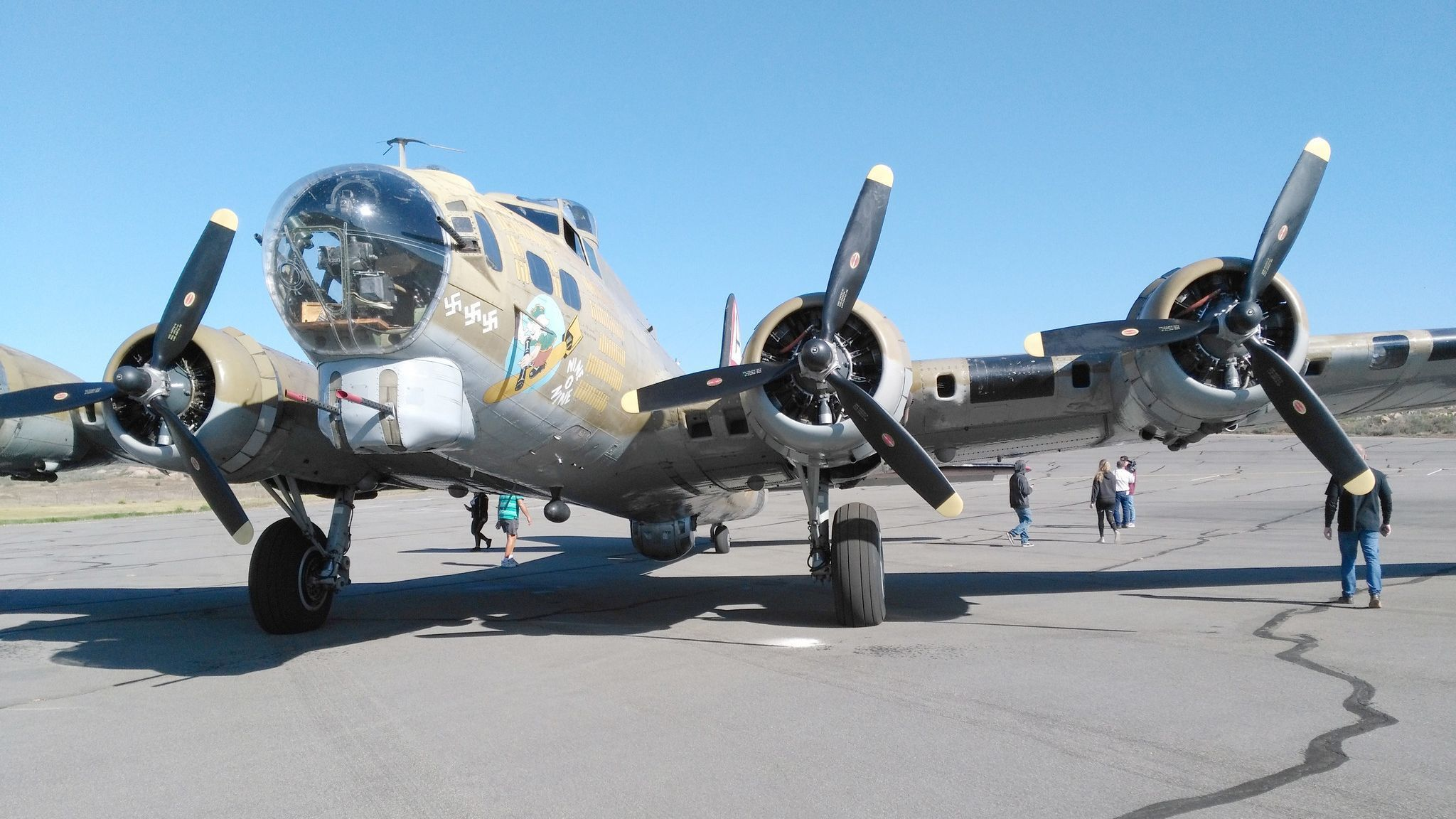 This B-17 Flying Fortress being displayed at Ramona Airport during the Wings of Freedom Tour is considered one of the backbones of the American effort during WWII.