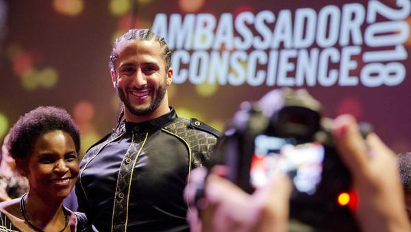 Colin Kaepernick receives award from Amnesty International for peaceful protests against racial inequality