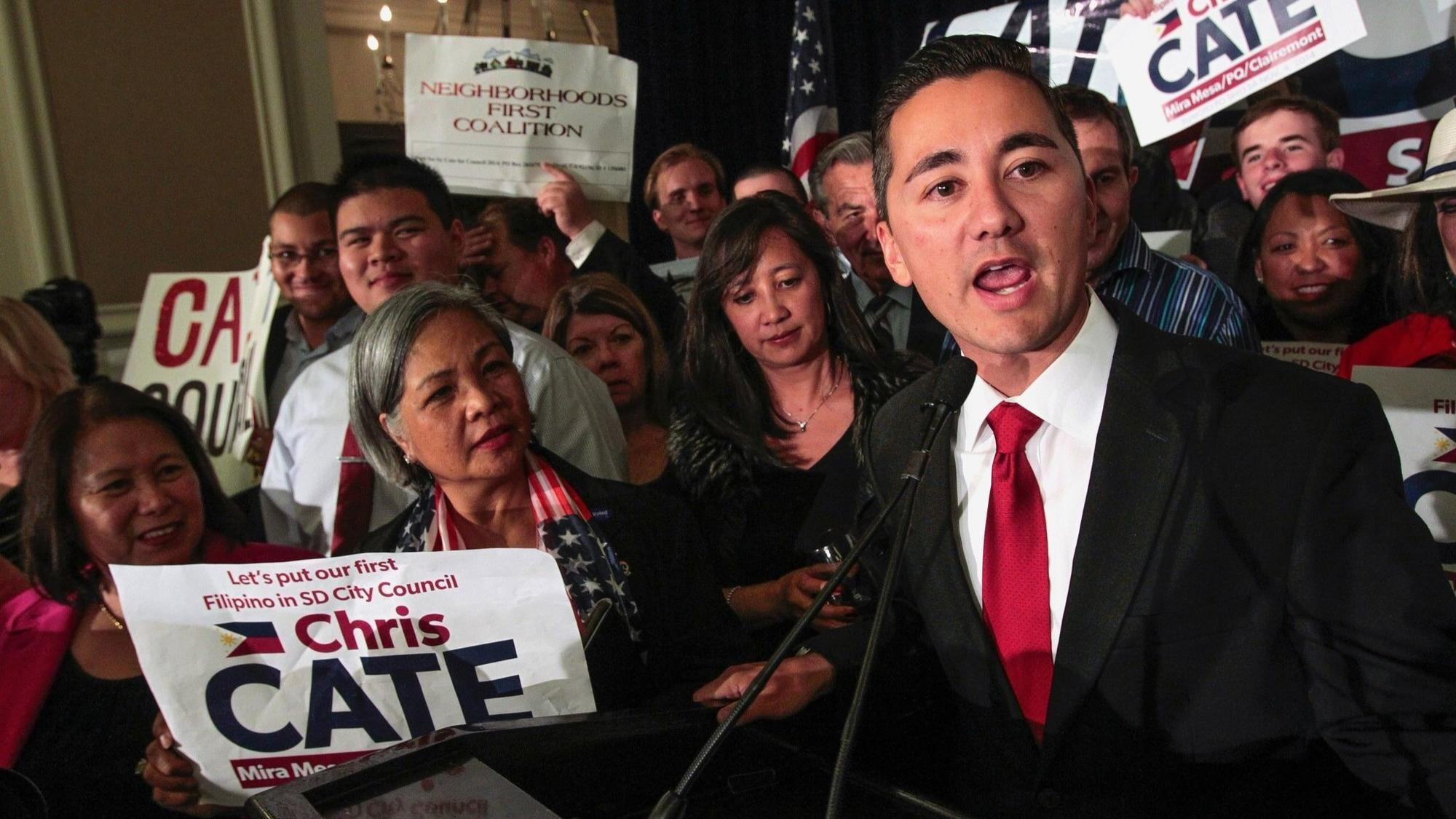 San Diego City Council candidate Chris Cate speaks to his supporters at the U.S. Grant Hotel.