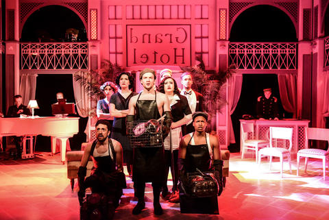 "Nick Arceo, Jeff Pierpoint and Maurice Randle (second row, l to r) Jenny McPherson, Hanah Rose Nardone, Daniel Hurst, Jennifer Ledesma and Darren Patin (back, l to r) Aaron Benham, Elena Spiegel and Parker Guidry in ""Grand Hotel"" at Theater Wit."