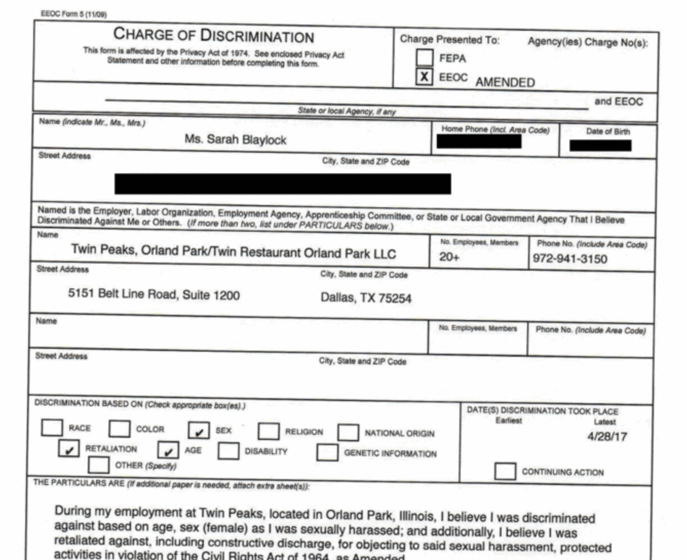 Read the EEOC complaint filed by former Twin Peaks employees ...