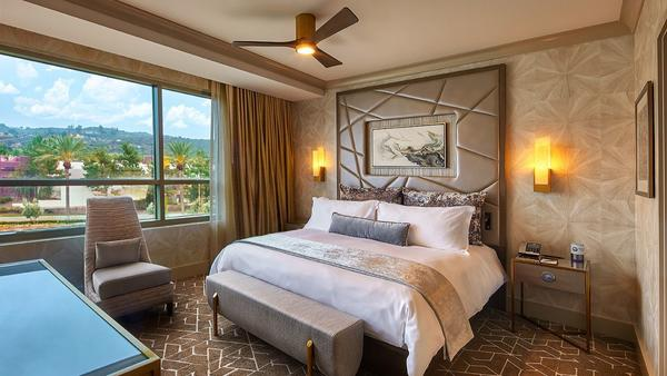 Guestrooms in the newly opened Viejas hotel tower offer rich textures and muted colors.