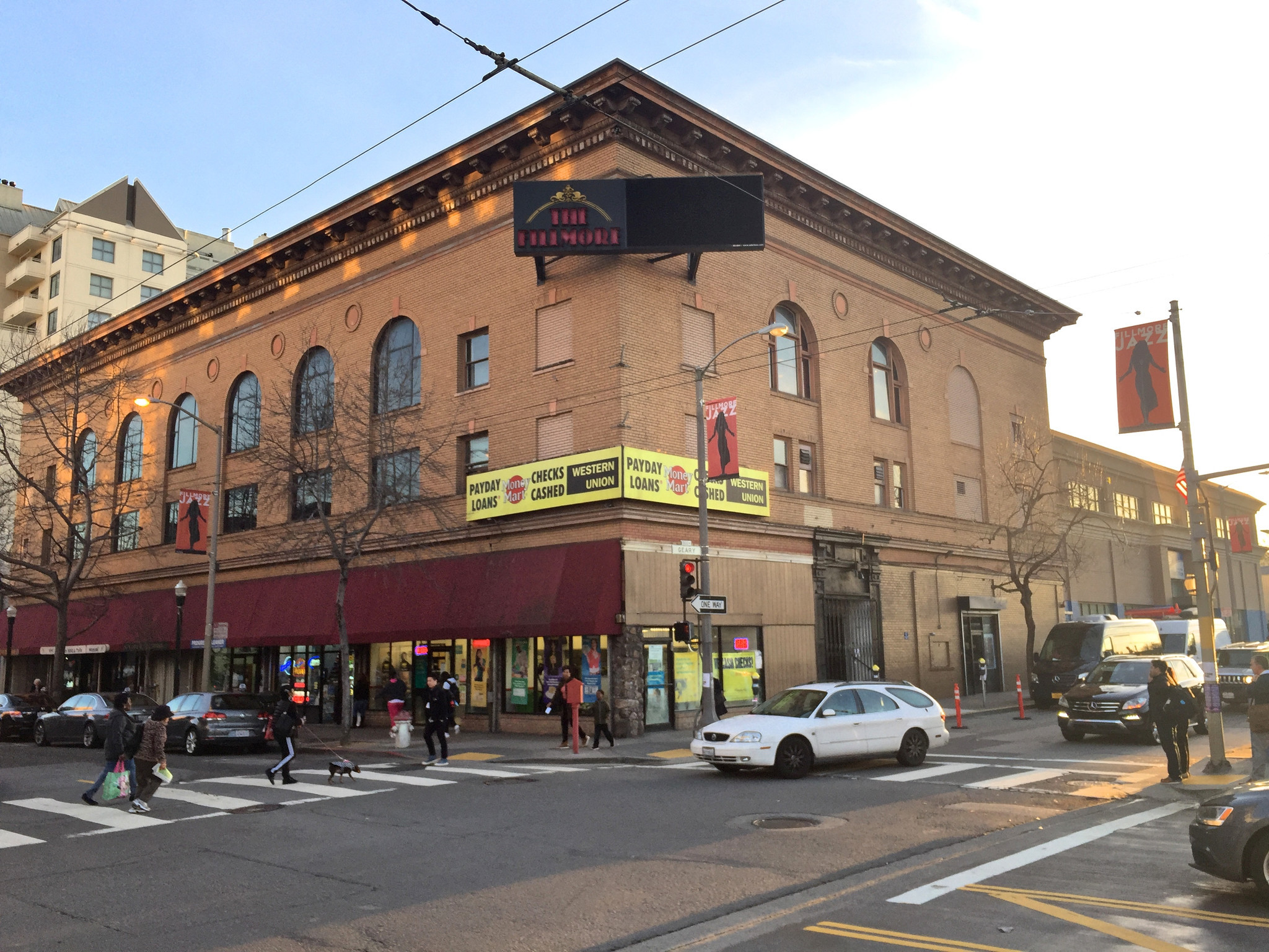 The Fillmore stands on Geary Boulevard just past Fillmore Street.