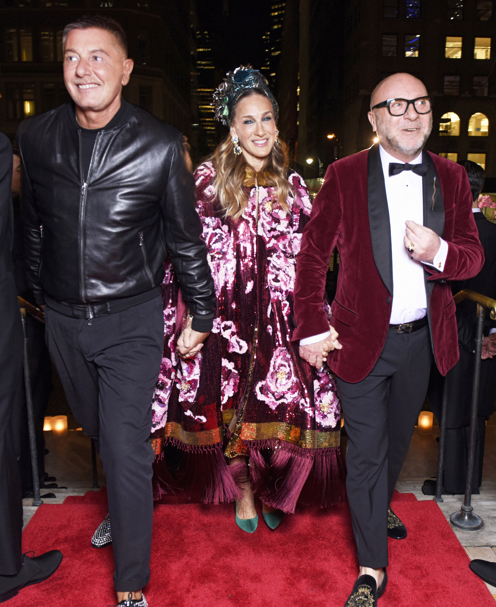 Designers Stefano Gabbana, left, and Domenico Dolce arrive at the New York Public Library for Dolce & Gabbana's Alta Gioielleria presentation with Sarah Jessica Parker on April 6.