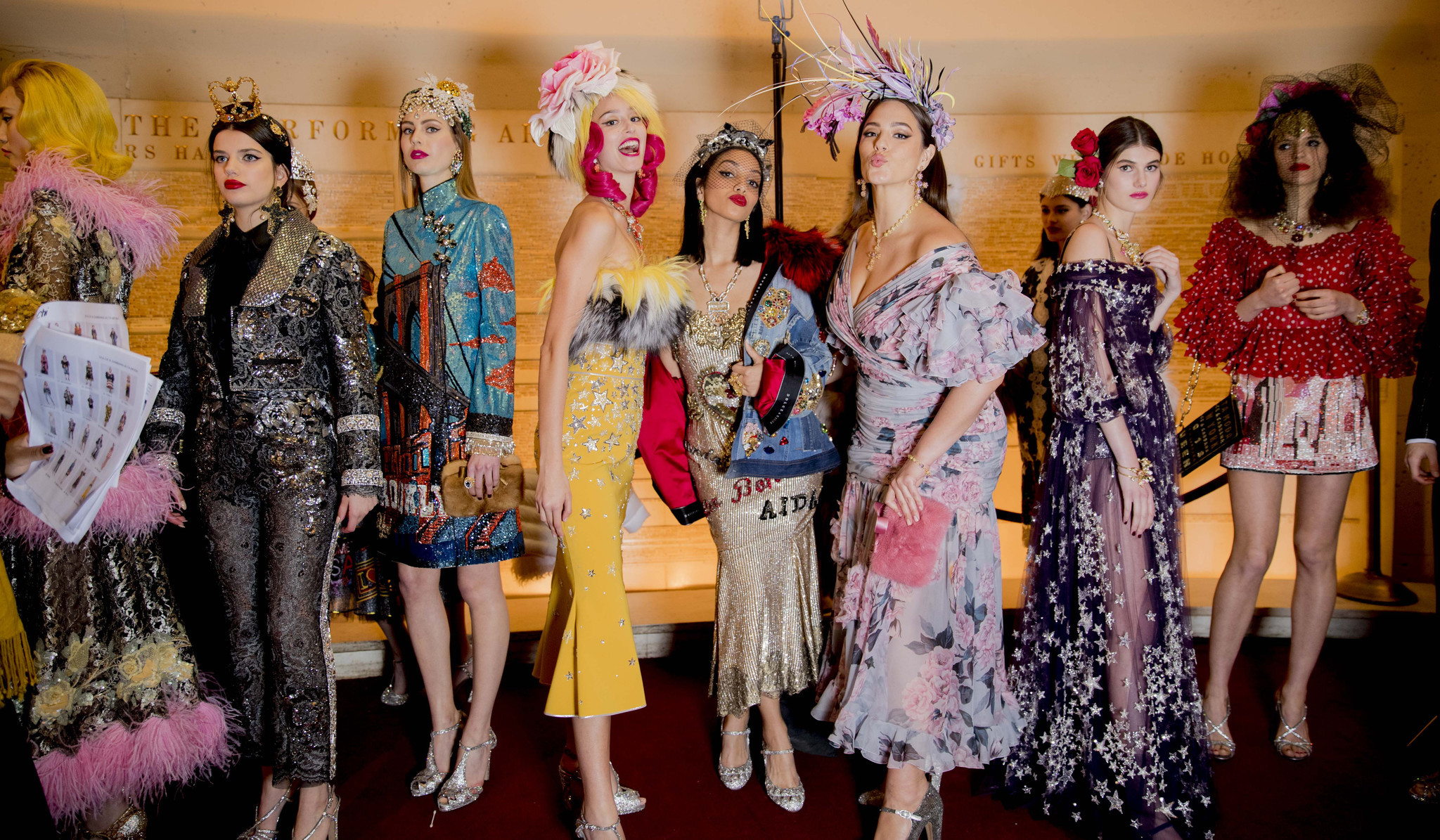Models line up backstage at Dolce & Gabbana's Alta Moda show at the Metropolitan Opera in New York on April 8.