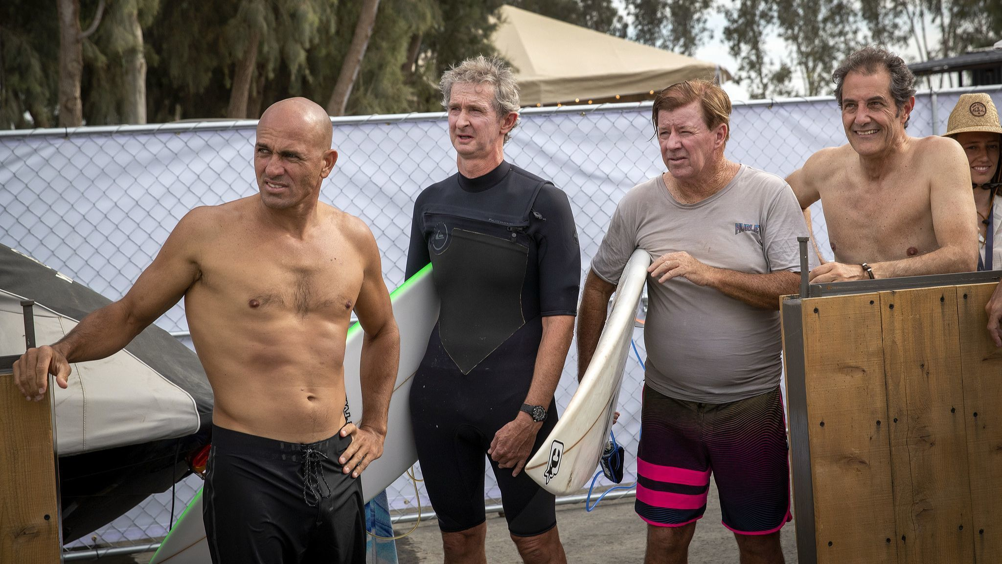 LEMOORE, CALIF. — FRIDAY, MAY 4, 2018: From left: Kelly Slater, l11-time WSL Men's Champion, Mark R