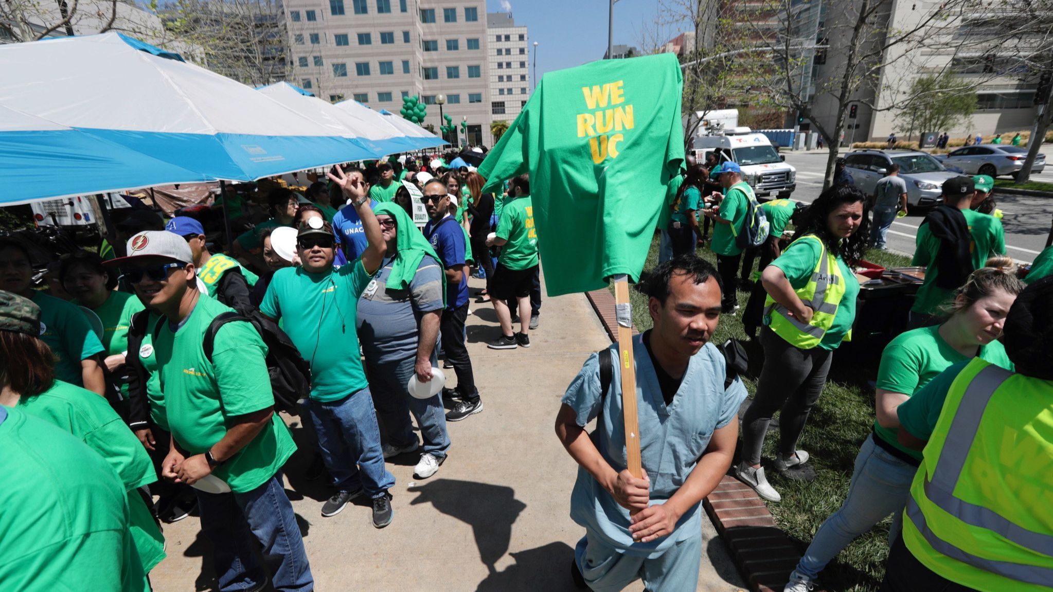 Workers with UC's largest employee union, the American Federation of State, County and Municipal Emp
