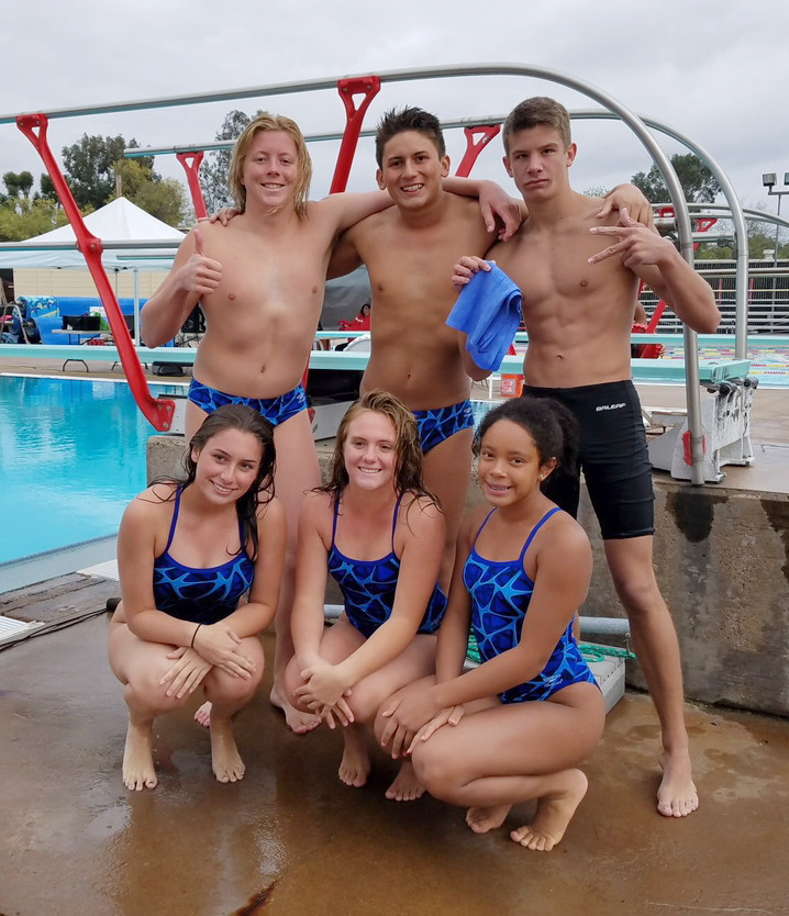 Scoring in the league championships are divers, standing, Frankie Trout, Gabe Burrill and Jacob Nelson and, front, Hope Garmon-Sooley, Mariah Campanella and Erika Bradley.