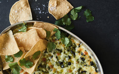 Poblano scallion queso